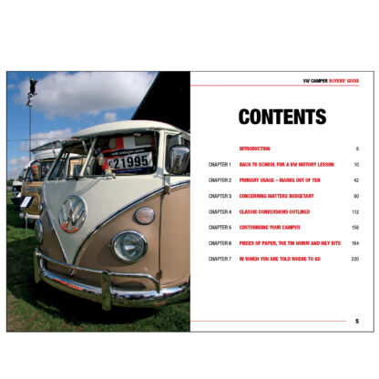 VW Camper Buyers' Guide table of contents